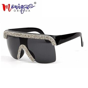 2019 Sunglasses men Vintage Cool style Goggle bling rhinestones sunglasses women oculos de sol feminino uv400