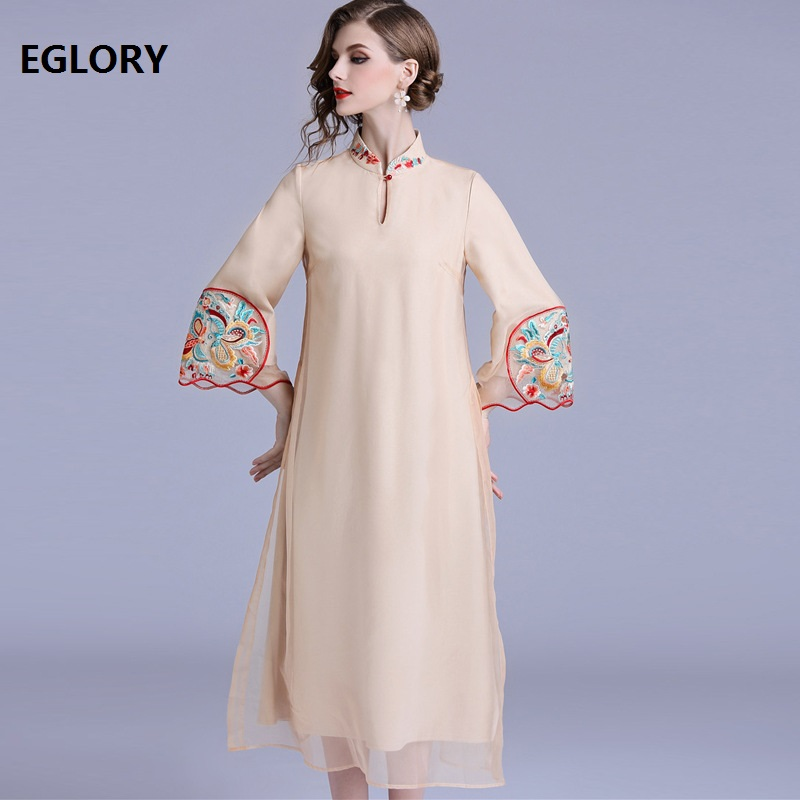 Luxury Women Party Formal Dress 2018 Fall Ladies Tunic Embroidery Mid Calf Length Apricot Green Dress Vintage Retro Vestidos