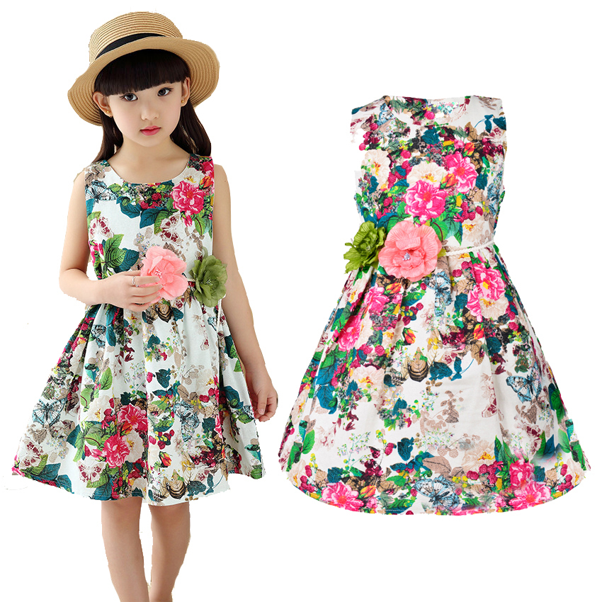 2017 Summer Style Girl Dress Flora Cotton Birthday Party Sundress Princess Kids Clothing with Flower Belt Baby Children Clothes 2016 baby girl flutter sleeves summer birthday princess dress cotton frock designs teen kids clothing bulk clothes teenagers