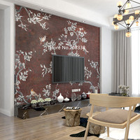 full hand made glass mosaic artwork wall mural Apricot flower with coffee back