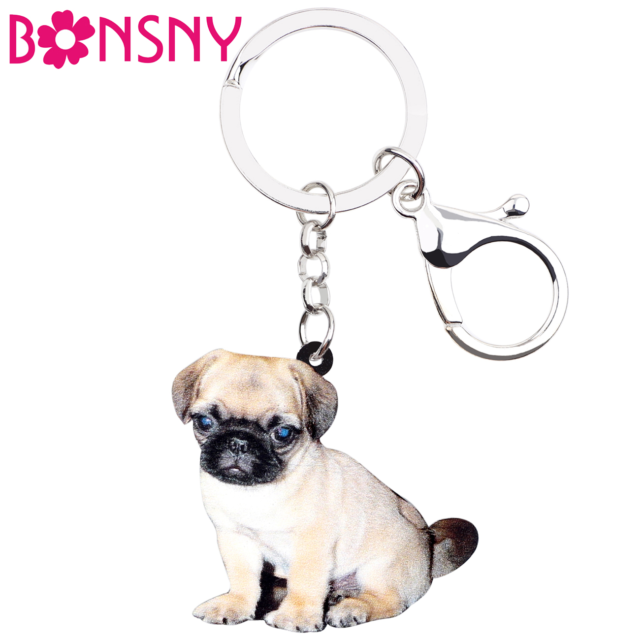 Bonsny Acrylic Pug Dog Key Chains Keychains Rings Cartoon Fashion Animal Jewelry For Women Girls Gift Bag Car Charms Pendant Hot