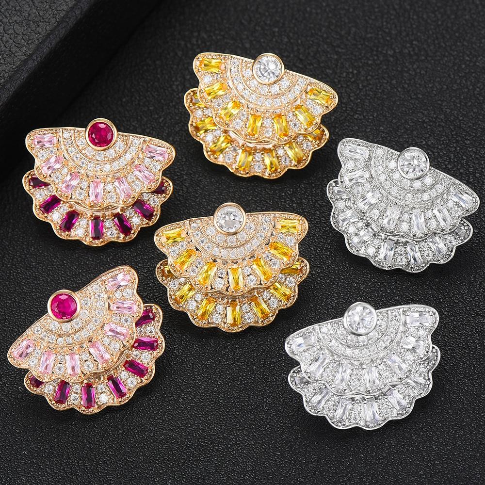 3f14c90831d6 GODKI 2019 dijes Multicolor Zirconia cúbica declaración doble pendientes  coreanos elegantes ...