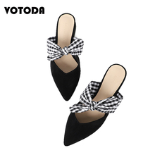 Women Mule Shoes Butterfly-knot Slippers Cute Bow Sandal Pointed Square Heel Slides Fashion Summer Outdoor Slipper Slip On Shoes недорого