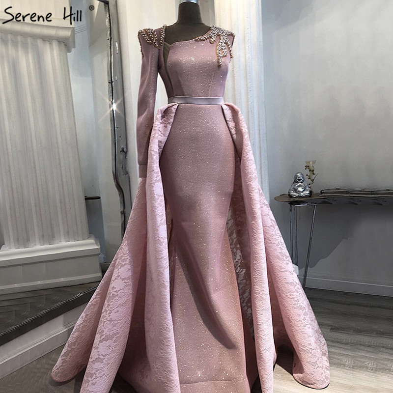 Dubai Design Pink One Shoulder Prom Dresses Vintage Pearls Mermaid Sexy Prom Gowns 2019 Real Photo BLA60929