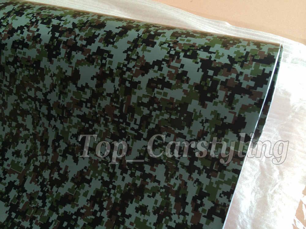 Dijital Ordu Askeri Camo Kamuflaj Woodland Vinil Motosiklet Araba Çıkartmaları Sarma Grafik Çıkartması Levha 1.52x30 m/rulo 5xft