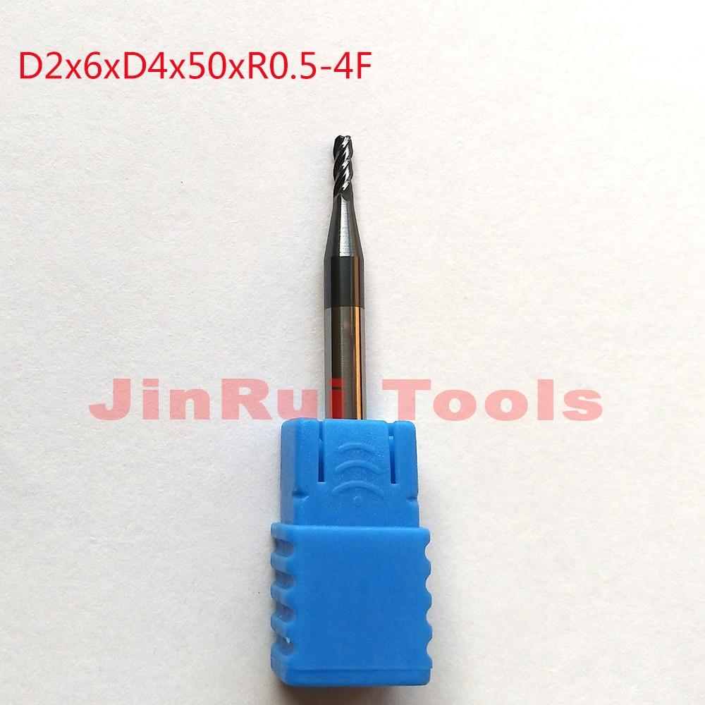 1pc D2*6*D4*50*R0.5 2mm HRC45 4 Flutes Corner radius end mills Solide Carbide End Mills router bit Milling cutter Tools knife