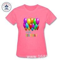 2017 Balões Feliz Aniversário Do Moderno Básico Tops Engraçado Camiseta de Algodão para as mulheres