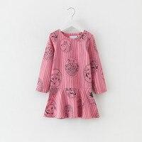 Girls Dress Striped Dresses Children Clothing Kids Fox Printing Long Sleeve Princess Dress Spring Autumn Girls Clothes