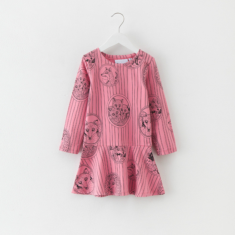 Girls Dress Striped Dresses Children Clothing Kids Fox Printing Long Sleeve Princess Dress Spring Autumn Girls Clothes цены онлайн