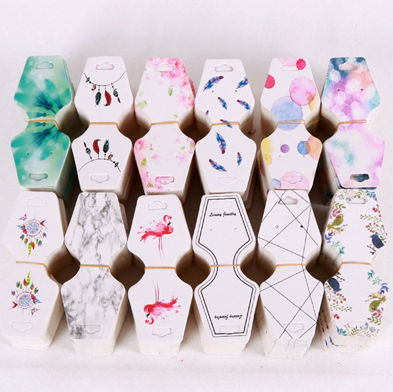 Beads & Jewelry Making 100pcs 4.5x10.8cm Colorful Paper Cards Printing Jewelry Necklace Bracelet Hang Tag Jewelry Display Cards Label Tag High Quality Goods