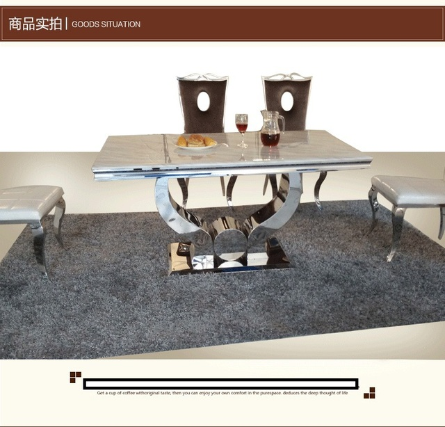 brightly colored marble dining table stainless steel table fours