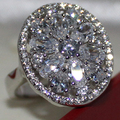 Handmade Women's Silver Simulated Diamond CZ Stone Cluster Flower  Wedding Ring