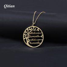 1589c2050831 Collar de árbol de la familia para mujer personalizado nombre oro Color  acero inoxidable joyería personalizada hombres regalo de.