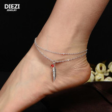 DIEZI one piece Vintage Leaves Chram Tassel Ankle Barefoot Sandals Beach Foot Jewelry Sexy Leg Chain Boho Anklet
