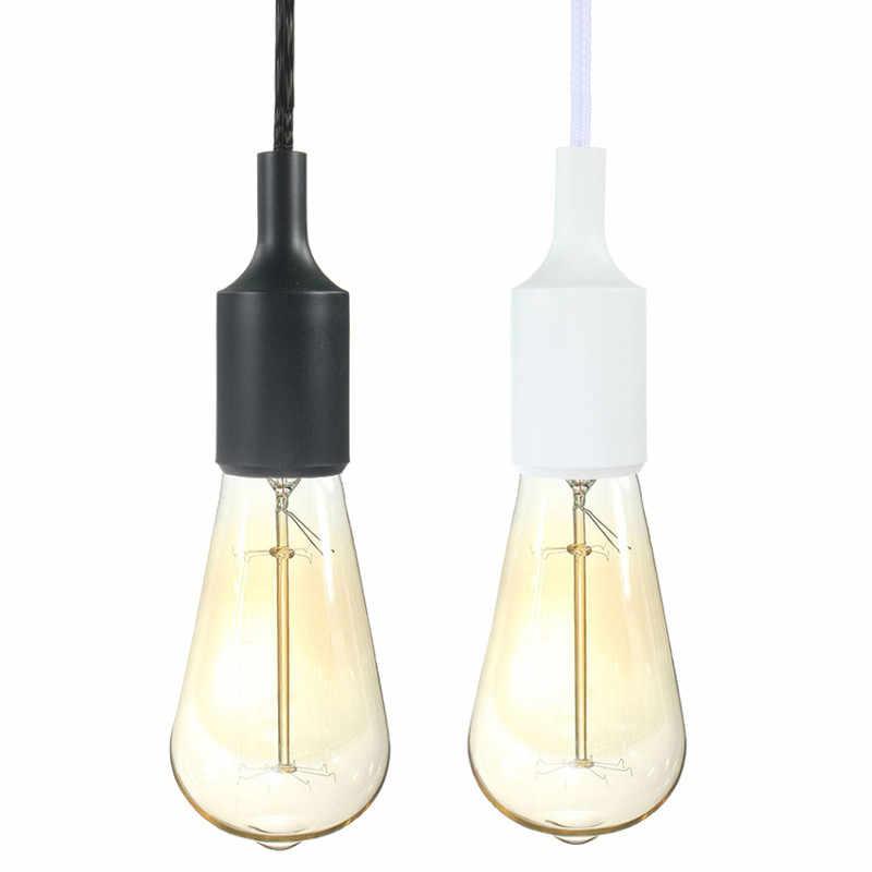 E27/E26 3 mètres Plug In suspension lanterne cordon Vintage Edison Gel de silice lumière douille suspension lampe support ampoule 110-250 V noir/blanc