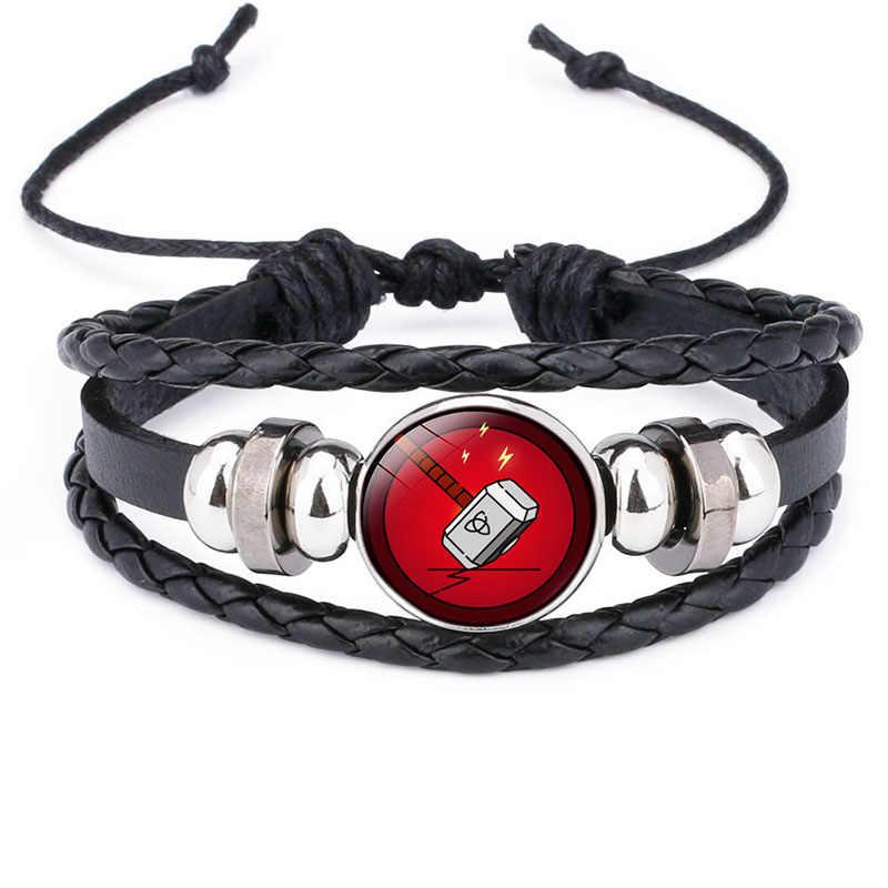 Pulseira de couro dos vingadores, os vingadores capitão américa escudo deadpool thor batman encantos bracelete de crianças meninos punk multicamadas pulseira de couro jóias