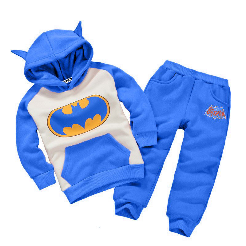 New Autumn Winter Boy Clothes 2016 Batman Children Tracksuit kids clothing suit boys and girls hoodie+trousers 2 PCS set(China)