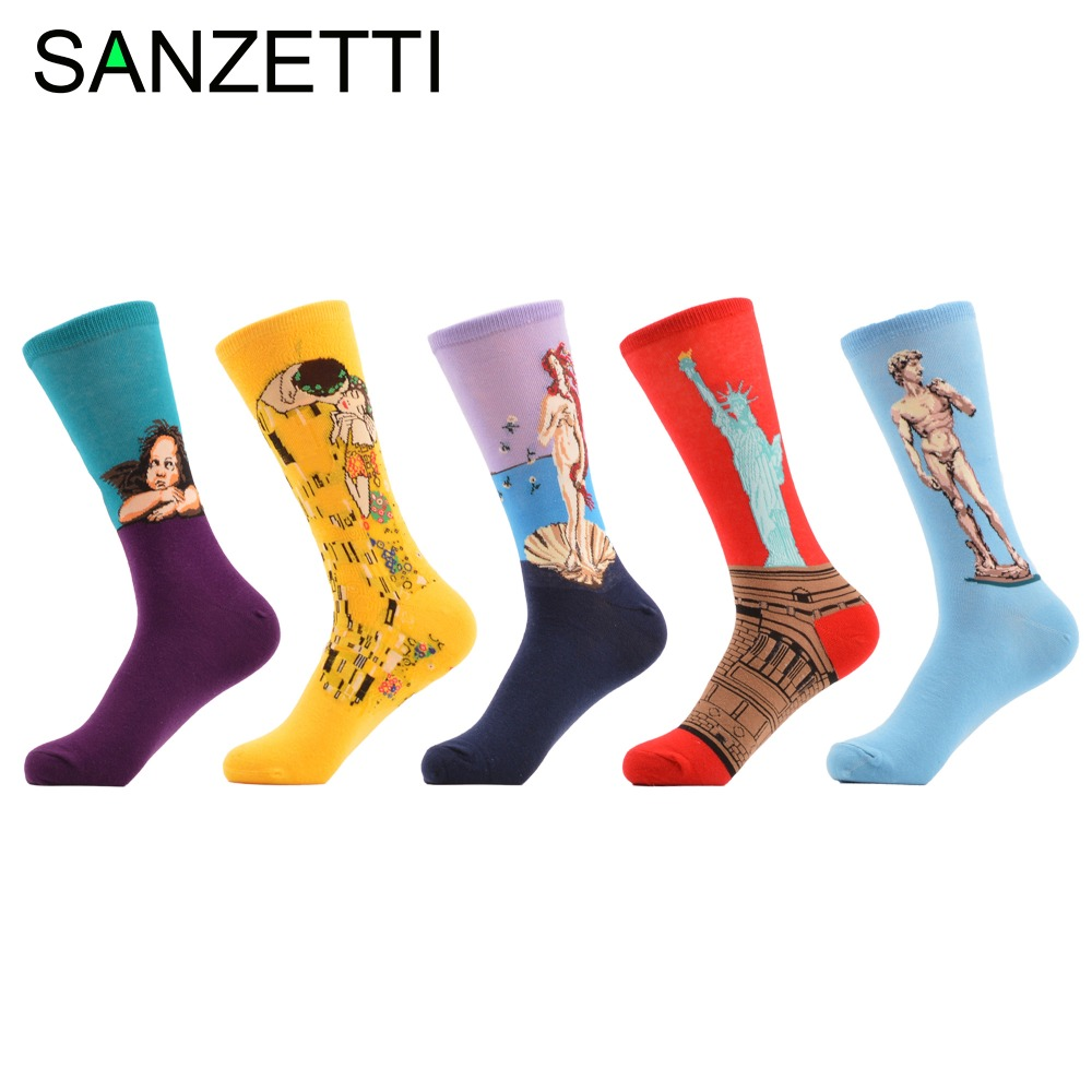 SANZETTI 5 pair/lot Mens Funny Combed Cotton Socks Novelty Casual Crew Socks Oil Painting Pattern Funky Socks