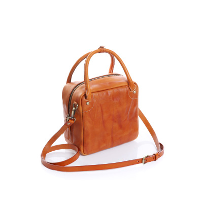 novelty small real cow leather box shape crossbody bag for women genuine leather vintage one shoulder bag cubic messenger bag
