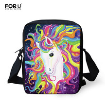 FORUDESIGNS Girls Mini Cute Crossbody Bags Cartoon Unicorn Women Kids Small Messenger Bags Custom your name Mini Shoulder Bag forudesigns soy luna girl messenger crossbody bag princess children handbags tv show shoulder bags custom made bandolera hombre