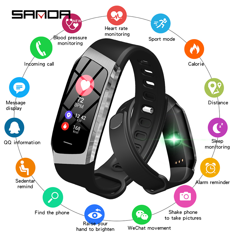 SANDA Smart Watch Heart Rate Monitor Fitness Tracker IP67 Waterproof Calorie Sports Bracelet For Android IOS