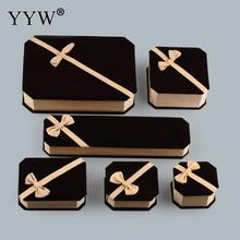 A set of velvet jewelry box packaging necklace bracelet ring dangle earrings jewelry box black velveteen ribbon gift box sold per piece
