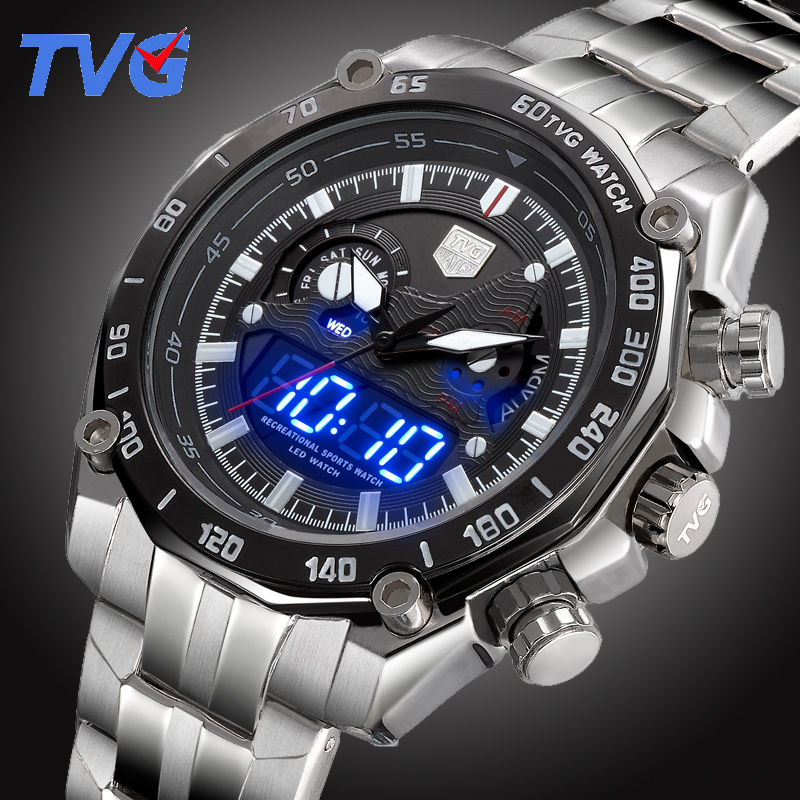 TVG Top Luxury Brand Men Full Steel Watches Men's Quartz Analog Digital LED Clock Man Fashion Sports Army Military Wrist Watch tvg male sports watch men full stainless steel waterproof quartz watch digital analog dual display men s led military watches