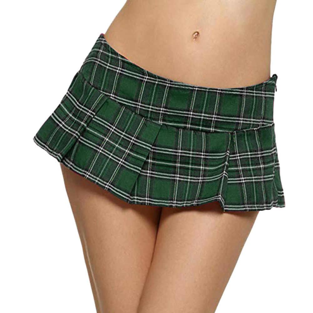 Lato kobiet Mini chusta plisowana spódnica kobiet Sexy niskiej talii kraty spódnice Harajuku spódnice Faldas Mujer Moda 2019 gorąca sprzedaż C