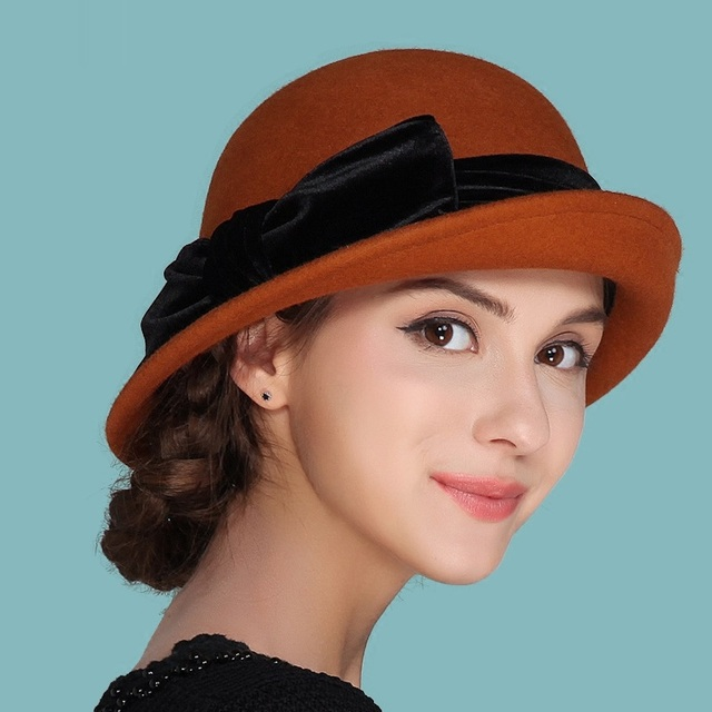 99c87f4dfc7 Lady New Autumn and Winter Hat Female British Wool Hat Small Hat Korean  Curling Shaping Cap Bow Decoration B-4186