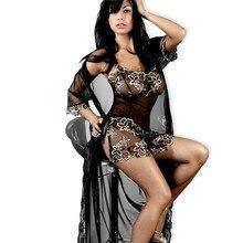 Lingerie Sexy Plus Size XL XXL XXXL 5XL 6XL Mulheres bordado Preto de Renda Lingerie Quente Roupa Interior Sheer Nightie Sleepwear para mulheres