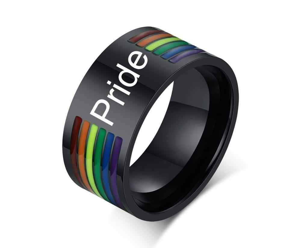 SIZZZ แกะสลักที่กำหนดเอง 10 มม. สแตนเลสเคลือบสายรุ้งสายรุ้ง LGBT Pride แหวนสำหรับ Lesbian & เกย์งานแต่งงานเครื่องประดับ