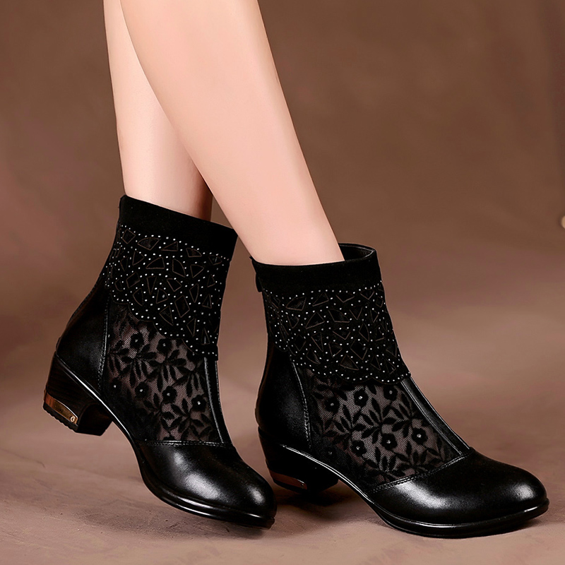 ФОТО Ankle Heel Boots Summer Style Ankle Boots For Women open tpe black sy-1362