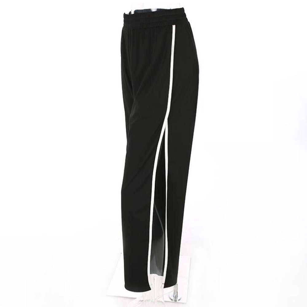 Black Harem   Pants   Women Elastic Waist Loose Casual High Split Trousers Track   Pant   Streetwear Autumn Side Striped   Wide     Leg     Pants