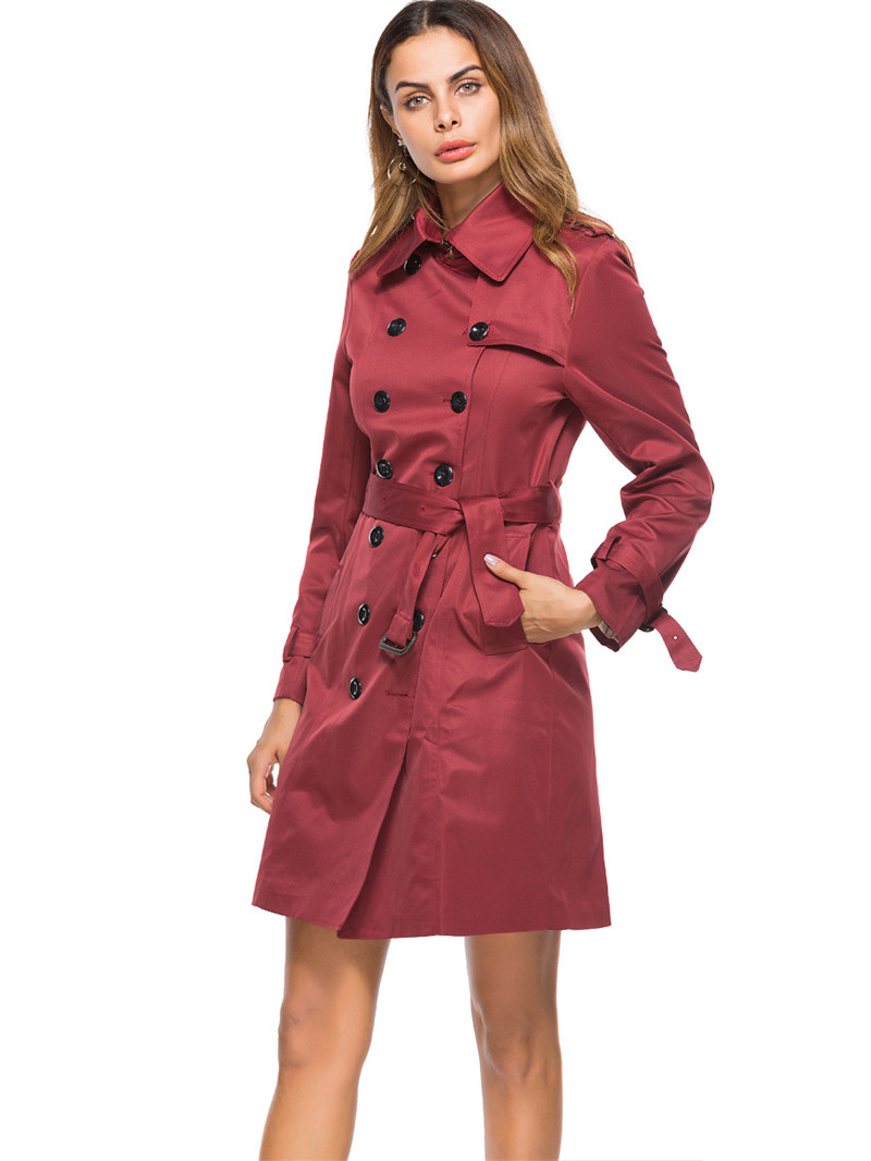 2019 New Spring Autumn Long   Trench   Coat Women Fashion Double-Breasted Slim Windbreaker Overcoats Female Outerwear V605