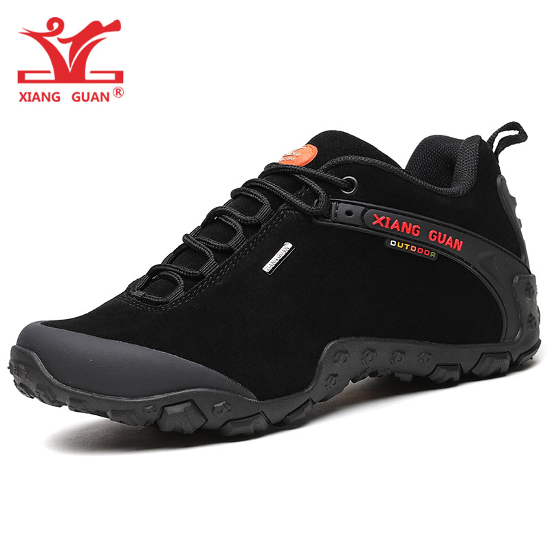 XIANG GUAN Man Hiking Shoes For Men Suede Athletic Trekking Boots Black Zapatillas Sports Climbing Shoe Outdoor Walking Sneakers цена