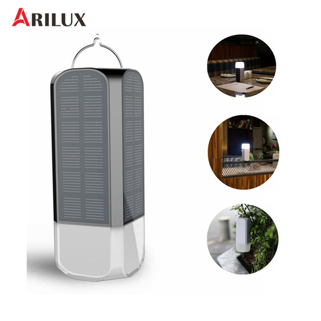 ARILUX USB Double Solar Panel Rechargeable 21 LED Camping Light  3 Modes Portable Solar Light Lamp Waterproof LED Lantern
