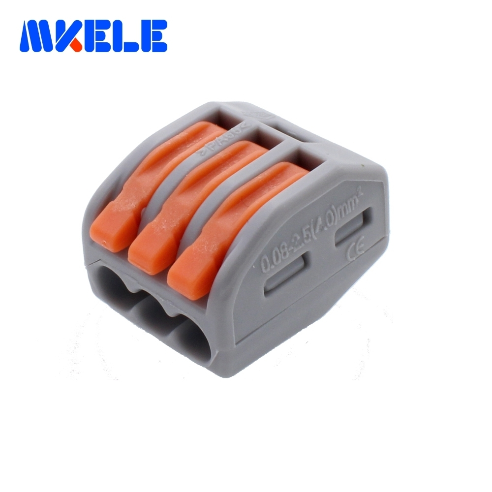 (25 pieces/lot)  WAGO 222-413 Universal Compact Wire Wiring Connector 3 pin Conductor Terminal Block With Lever AWG 28-12