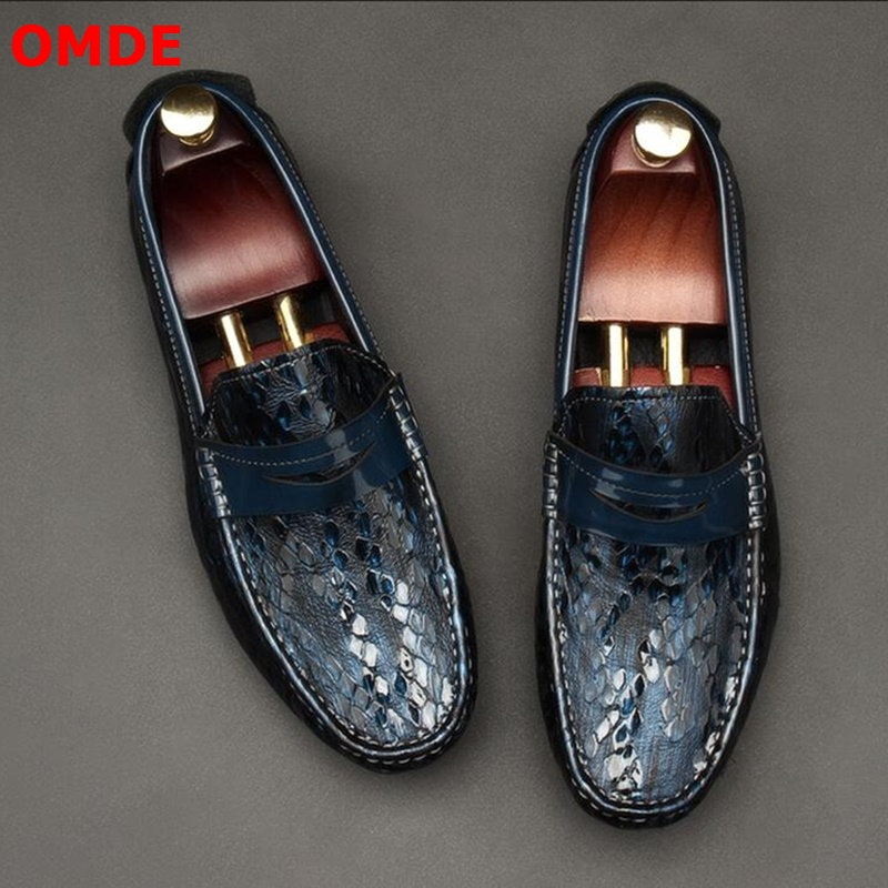 OMDE New Arrival Luxury Patent Leather Penny Loafers Men Casual Shoes Genuine Leather Men Loafers Moccasins Slip On Men's Flats