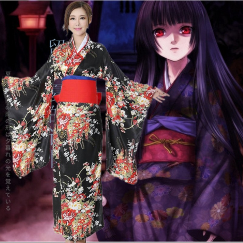 Anime Jigoku Shoujo Futakomori Hell Girl Enma Cosplay Costume Sexy Women Kimono Maid Princess Hallowmas Festival Game Party