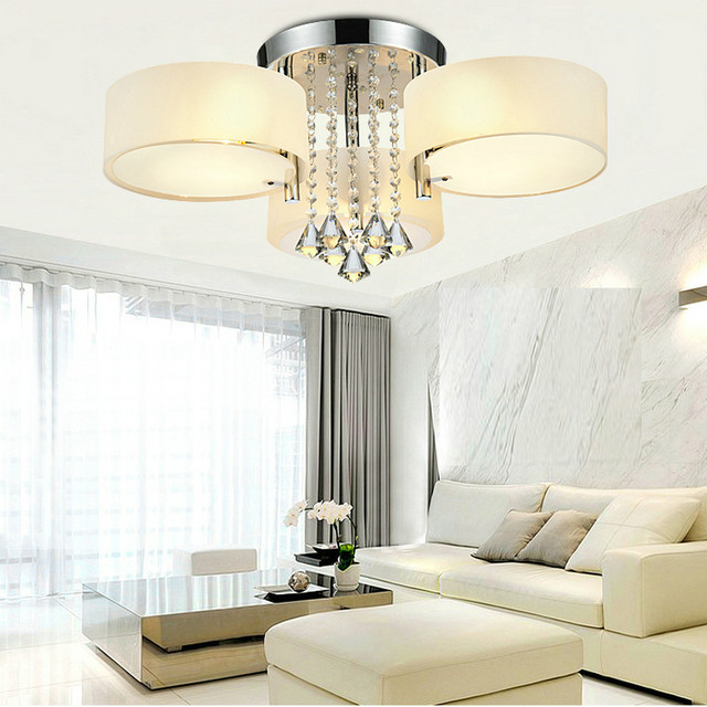 Mamei mamei free shipping flush mounted 3 light chrome finish modern ceiling light fixtures for bedroom