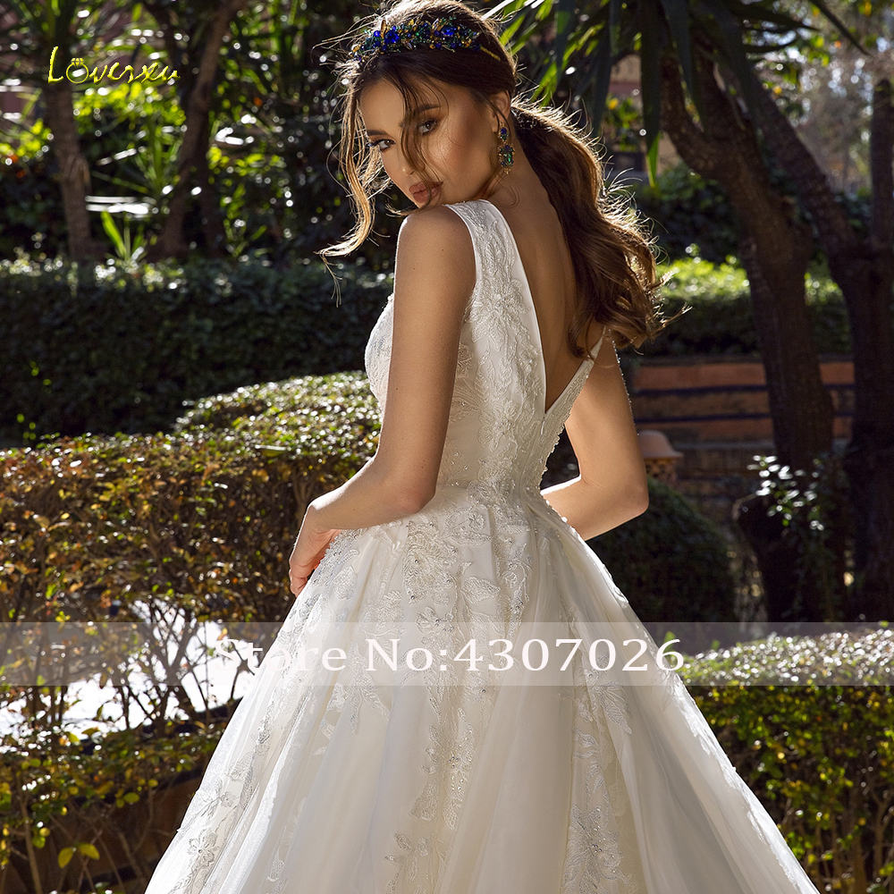 Image 4 - Loverxu Luxury V Neck A Line Wedding Dress Applique Beading Tank Sleeve Backless Bride Dress Chapel Train Bridal Gowns Plus Size-in Wedding Dresses from Weddings & Events