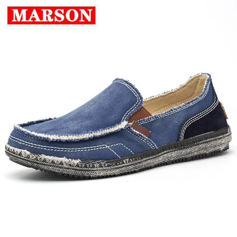 MARSON Men Classic Canvas Shoes Casual Sneakers Men's Lazy Shoes Moccasin Men Slip On Loafer Washed Denim Casual Flat Loafers