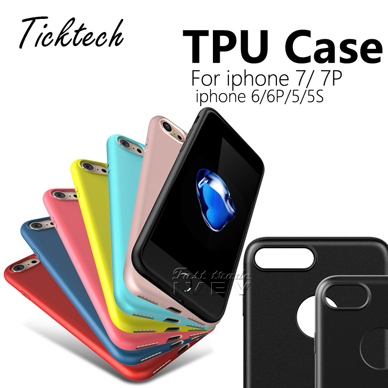 50PCS/Lot For iphone 7 6S Plus Soft TPU Matte Case 0.6 mm Ultra Thin Candy Color Gel Sil ...