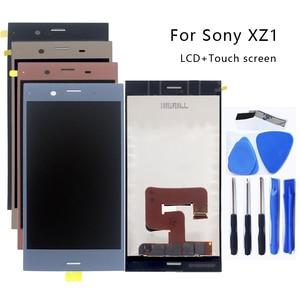 Image 1 - Para Sony Xperia XZ1 G8341 G8342 Monitor LCD Digitador Assembléia Vidro Sony Xperia XZ1 Exibição do Monitor LCD Frete grátis