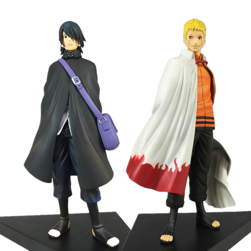 seventh star 100% 2pcs/set 16cm Naruto Uchiha Sasuke Seventh Naruto Action Figure With Base Japan Anime Collections Gifts Toys #F