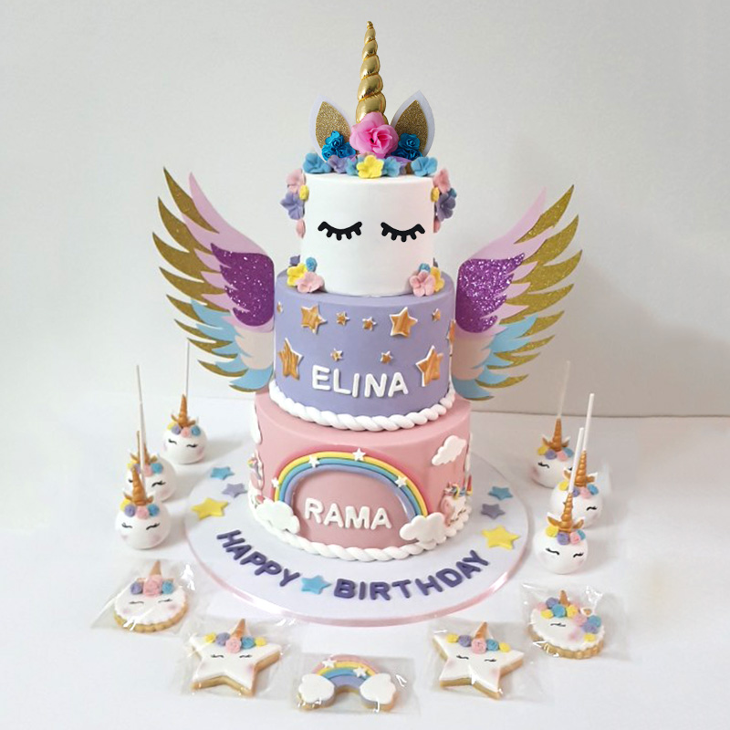 Incredible Unicorn Wings Wedding Decor Cake Topper Mariage Valentines Day Funny Birthday Cards Online Unhofree Goldxyz