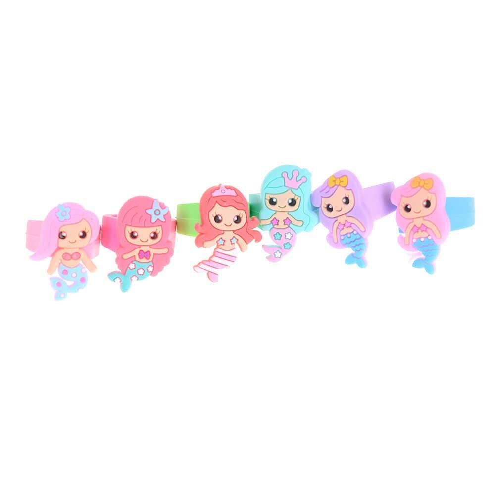 1 pc bebê crianças menina festa jóias anéis redondos presente mix dos desenhos animados sereia princesa anéis de borracha