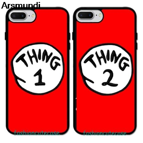 Arsmundi Thing 1 2 Design Lovers Best Friends Rubber Phone Cases for iPhone 5S 6S XR XS Max PLUS Case Soft TPU Rubber Silicone image