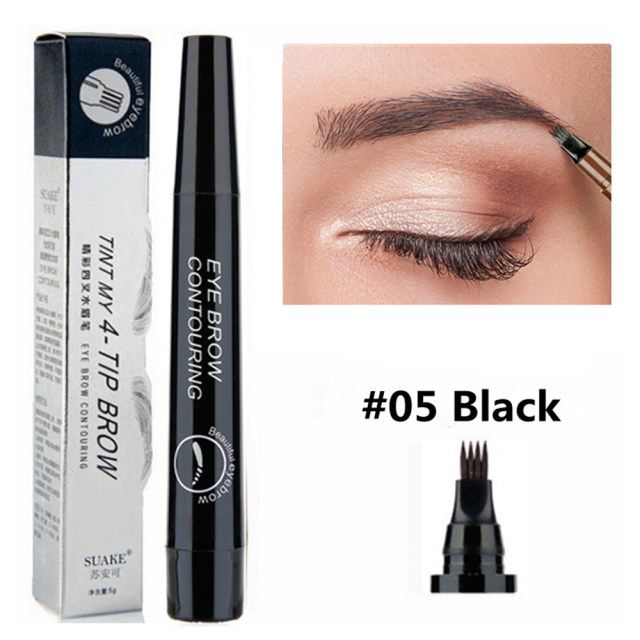 5 Colors Eyebrow Pen Waterproof 4 Fork Tip Eyebrow Tattoo Pencil Cosmetic Long Lasting Natural Dark Brown Liquid Eye Brow Pencil 5