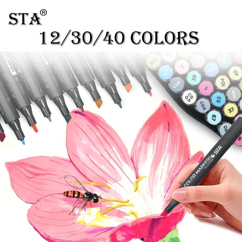 STA 12/30/40Colors Marker Pen Set Alcohol Ink Dual Head Sket